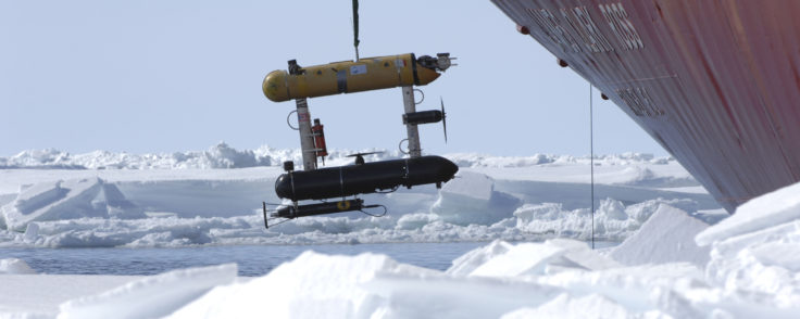being deployed from RRS James Clark Ross in the Weddell Sea, Antarctica