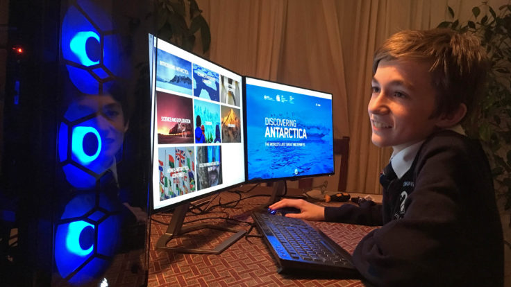 The educational website Discovering Antarctica being explored by a Swavesey Village College student.