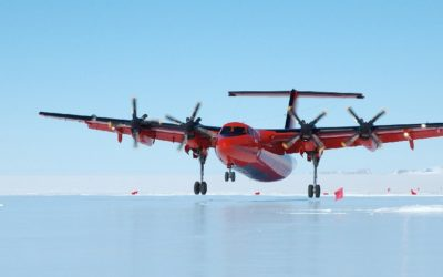 The BAS Dash-7 aircraft landing on the blue-ice runway at Sky-Blu Field Station.