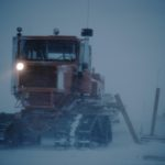 Sno cat in blowing snow at Halley