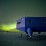 Aurora australis at the new Halley VI Research Station.