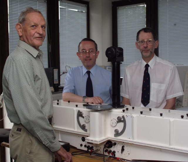 The Antarctic ozone hole was discovered in 1985 by BAS Scientists, from left: Joe Farman, Brian Gardiner and Jon Shanklin with a Dobson ozone spectrophotometer, used to determine stratospheric ozone concentrations.