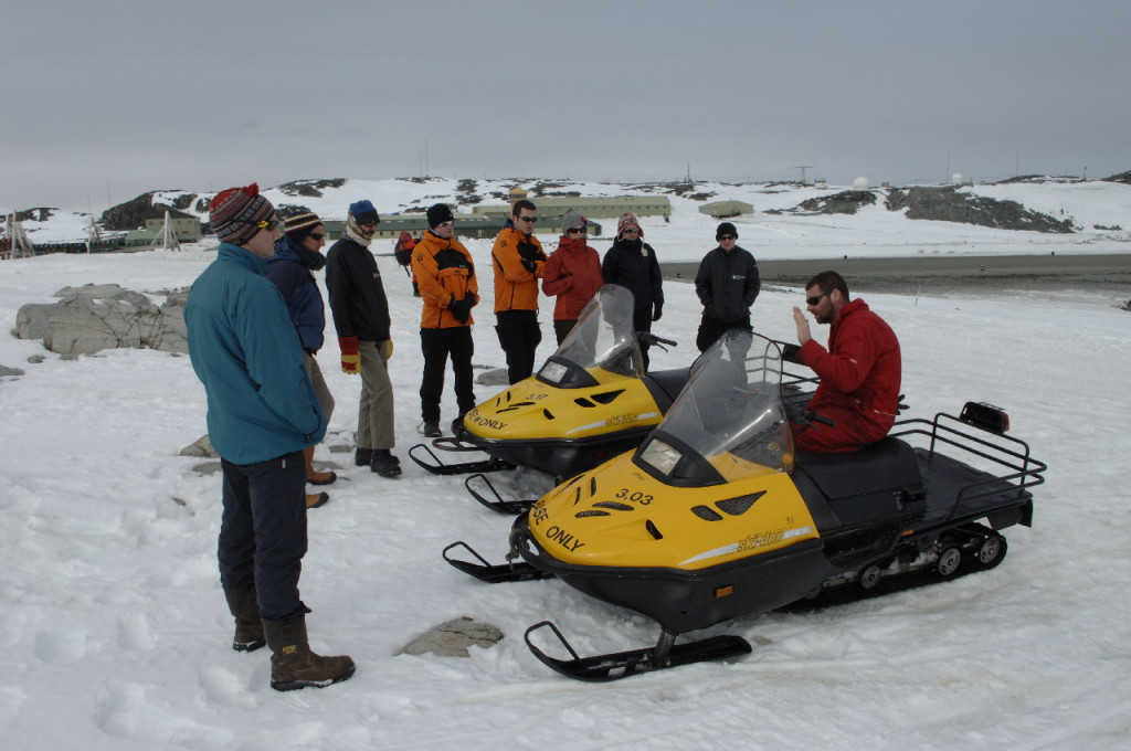 Skidoo training at Rothera Research Station, Antarctica.