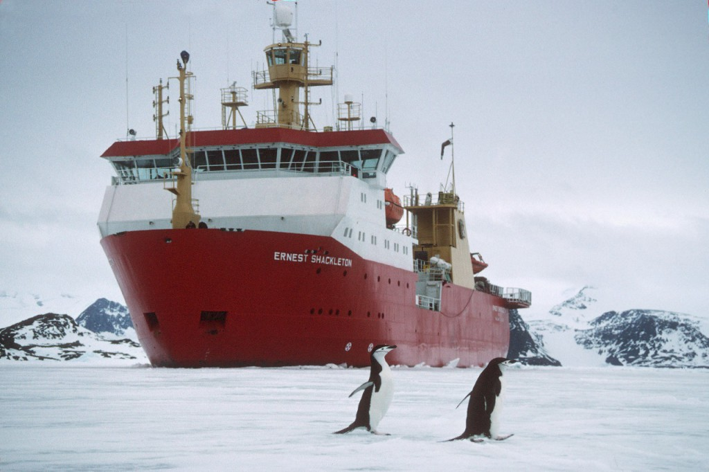 RRS Shackleton in sea ice close to Signy Research Station