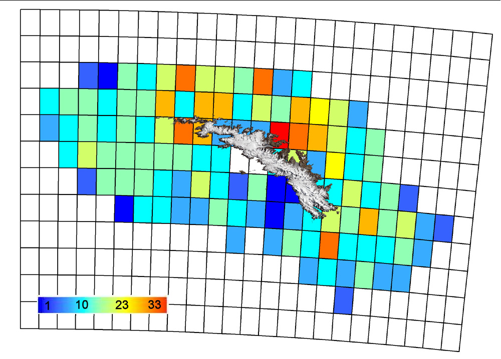 Map showing distribution of Chordates in South Georgia - data from South Georgia Marine Biodiversity Database (SGMarBase)