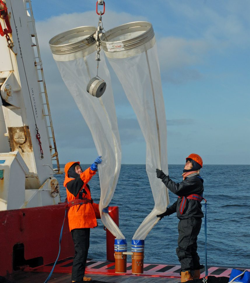 Towed bongo nets on the back deck of RRS James Clark Ross on cruise JR177 in the Southern Ocean.