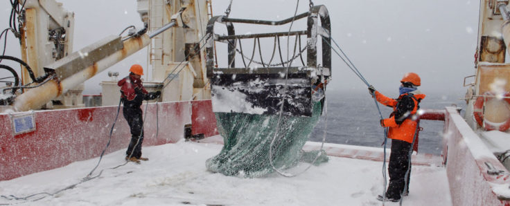 Benthic Sledge deployment from RRS James Clark Ross in Antarctica