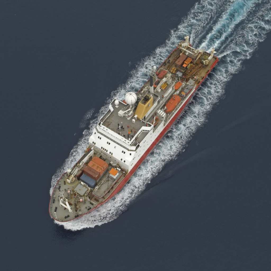 Aerial view of the RRS James Clark Ross in the Bellingshausen Sea, west of the Antarctic Peninsula.