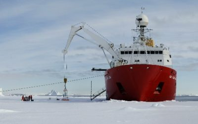 A reseach ship in the sea ice