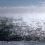 Sea smoke early morning off the Ronne Ice Shelf