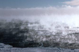 Sea smoke early morning off the Ronne Ice Shelf
