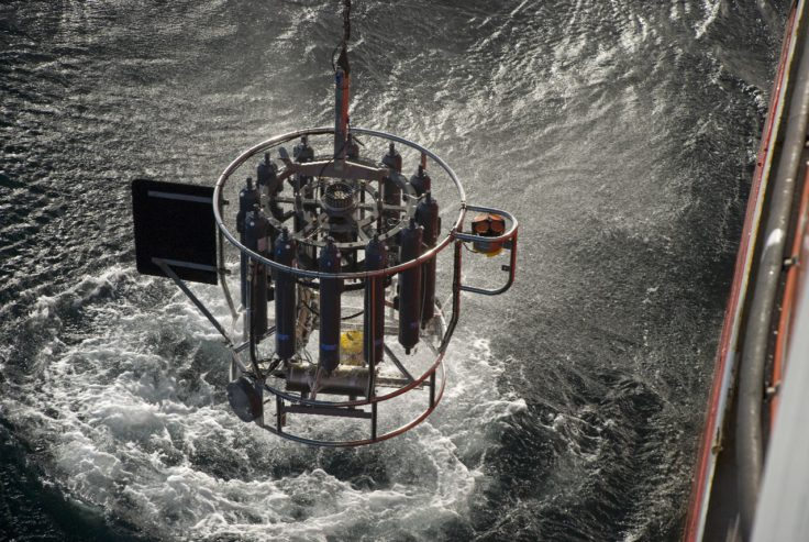 The CTD is recovered to the JCR after another deep deployment to 4500 metres. Drake Passage.