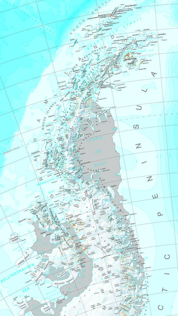 Map of the Antarctic Peninsula showing the Larsen Ice Shelf