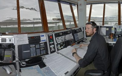 Men working in a control tower