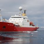 RRS James Clark Ross in the waters off the Antarctic Peninsula.