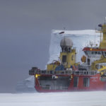 RRS Ernest Shackleton at the Brunt Ice Shelf, Antarctica, for relief of Halley Research Station.
