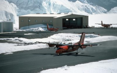 Dash-7 taking off/landing on the runway at Rothera.