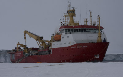 A large ship in the snow.