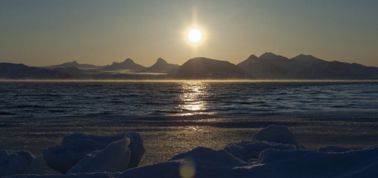 view looking east across Kongsfjorden at Ny Alesund on Svalbard.