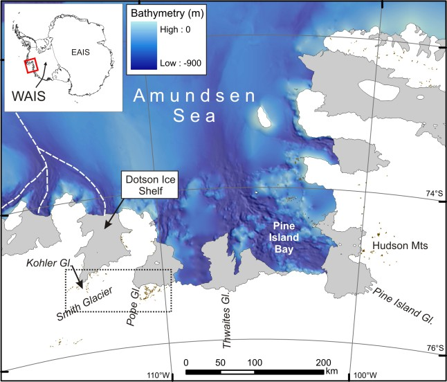 Map of the Amundsen Sea Embayment showing the ANiSEED study area (dotted box).
