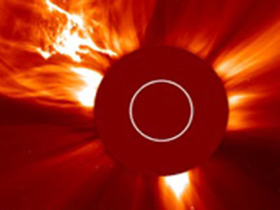 A spectacular Coronal Mass Ejection (CME) took off from the Sun in the early hours of January 2002, It startied off as a filament eruption seen by the Extreme ultraviolet Imaging Telescope (EIT) onboard the SOHO spacecraft. The LASCO instrument captured images of the CME in progress.