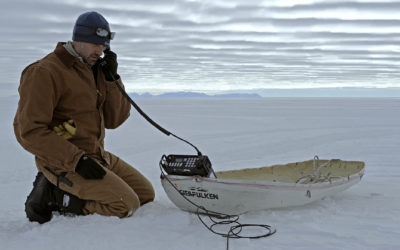 Chris Hill calls Rothera from the Ellsworth Field Camp