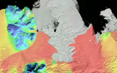 Amundsen Sea glacier catchments - velocity data overlaid on a MODIS mosaic of Antarctica. (Rignot, 2011)