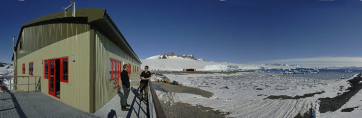 The new Bransfield House balcony at Rothera Research Station, Antarctica.