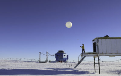 The daily meterological balloon launch at the British Antarctic Survey's Halley VI Research Station on the Brunt Ice Shelf, Antarctica