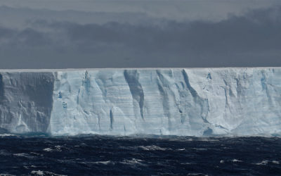 large tabular iceberg seen in the Antarctic Sound at the top of the Antarcticc Peninsula