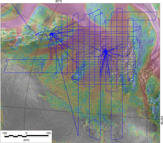 Flight line across the Institute and Möller ice streams. Background image shows ice velocity (red=fast) overlain on a satellite image of the ice surface.