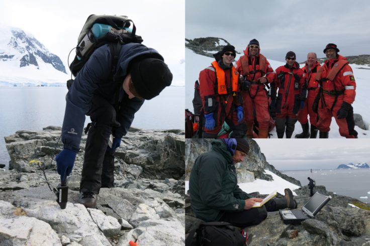 Martin Black collecting a spectrum from a rock surface on Léonie Island (Left); (Top right) The field team on arrival at Anchorage Island, Ryder Bay, Antarctica; (Bottom right) Teal Riley making notes during the spectral survey of Léonie Island.