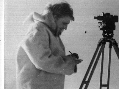 Black and white photograph of Derick Maling wearing clothing that has been donated to BAS Archives. Derek Maling wintered at Signy 1947/48, making a prelminary survey of the island and taking meteorological observations.
