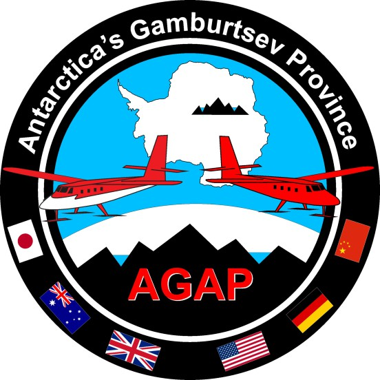 AGAP logo showing survey location in the heart of East Antarctica, key science targets (ice, lakes and mountains) and collaborating countries.