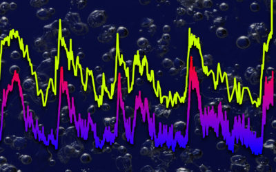 Ice core data showing CO2 (yellow) and temperature going back 800,000 years