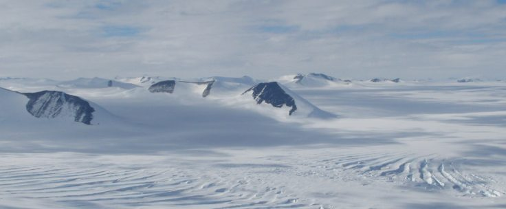 Antarctic Peninsula Ice Sheet and peaks of the Guettard Range, SE Palmer Land