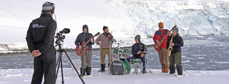Filming Nunatak at Rothera - this first concert was live to 2billion+ peolpe during LiveEarth .. mad!