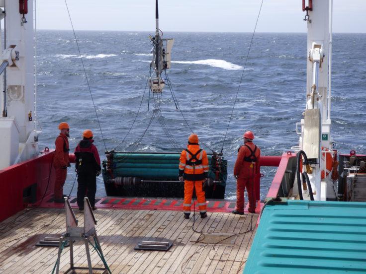 Deploying Rectangular Mid-water Trawl (RMT8) on the James Clark Ross, 2015. Photographer: Sarah Chapman (BAS)