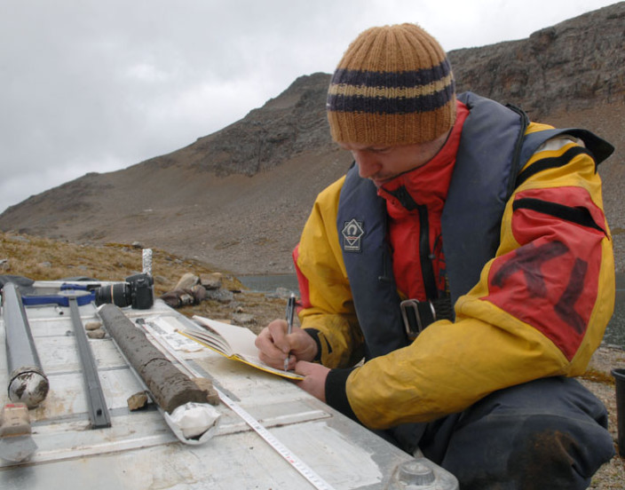 Steve Roberts with lake sediment core