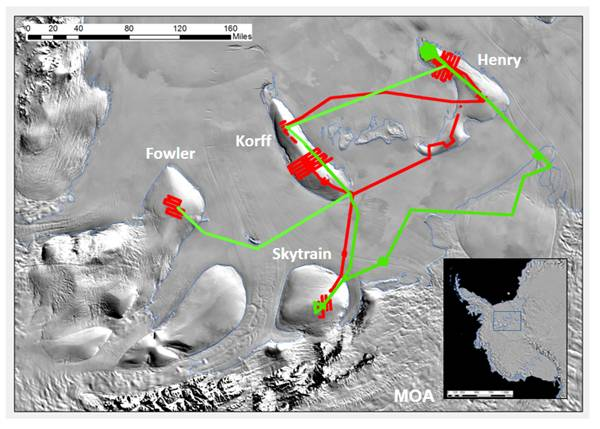 Satellite image showing the SW Ronne Ice Shelf region with the Fowler, Korff, Henry and Skytrain ice rises labelled and the routes of our two skidoo traverses shown in red (2013/14 season) and green (2014/15 season). Inset shows the regions location in West Antarctica.