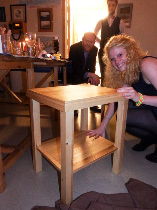 The home-made coffee table gifted to Sian on Midwinter's Day