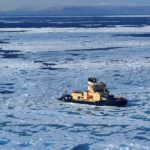 Helicopter view of Swedish research ship Oden in sea-ice, Nares Strait