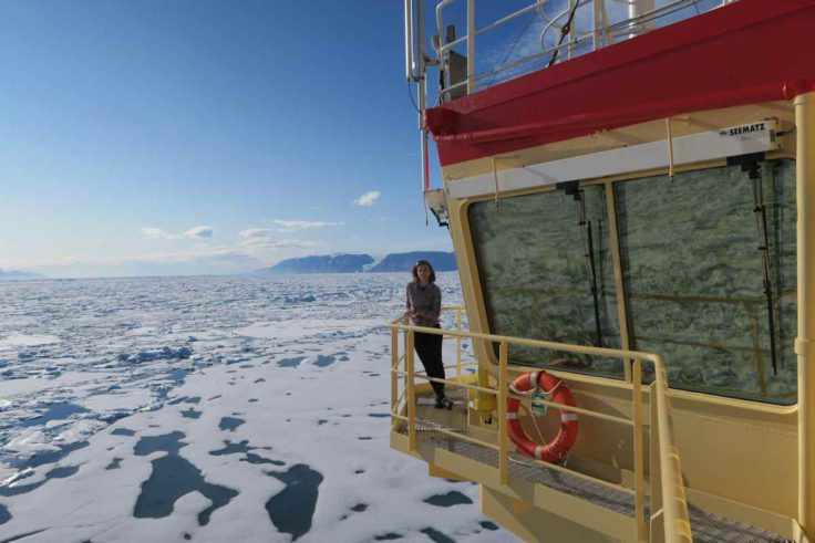 Kelly Hogan on the bridge of the Oden, Nares Strait in the Arctic