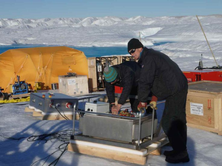 Hot water drilling on Petermann ice shelf, NW Greenland
