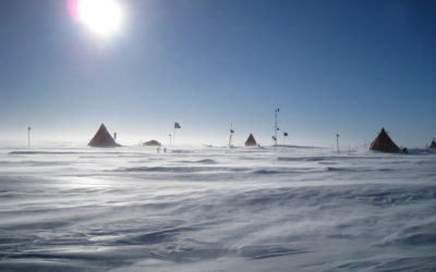 Field party campsite, Subglacial Lake Ellsworth during strong winds