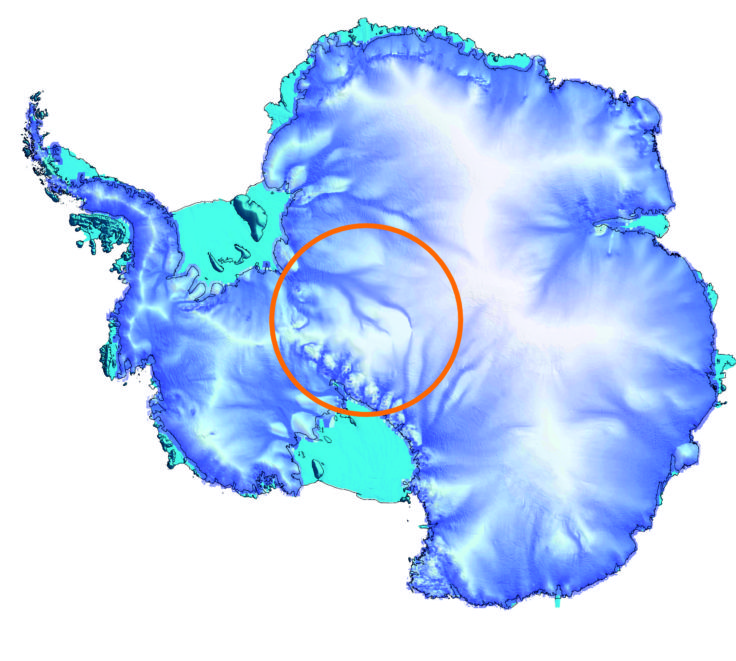 Gap in satellite gravity data coverage in Antarctica shown by an orange circle.
