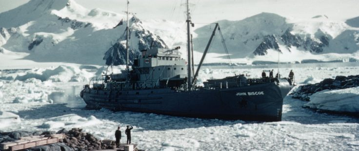 John Biscoe at Base Y, Horseshoe Island, 1955-6. FIDS/BAS-owned ships were not routinely painted red until 1960. (Photographer: James Exley; Archives ref: AD6/19/3/B8)