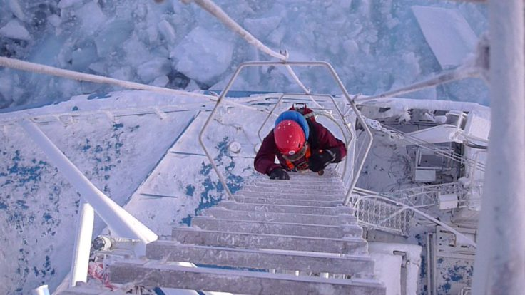 Climbing up to the Crow's Nest on Norwegian research vessel Lance (Markus Frey)