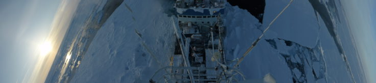Ice floe after storm:new open leads around the ship opened up by the recent storm (Markus Frey)