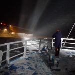 Norwegian research vessel Lance frozen into the Arctic winter sea ice